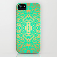 Radiate (Yellow/Ochre Teal- non metallic) iPhone & iPod Case by Jacqueline Maldonado