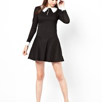 Pop Boutique Swing Dress with Lace Collar and Cuff -