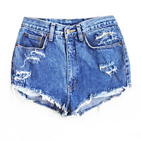 High Waisted Denim Shorts - Lightly Shredded
