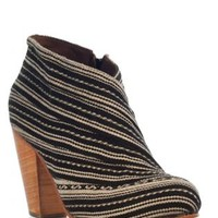 Black & Beige Print Booties with Wooden Heel