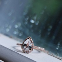 Rain drop white sapphire and rose gold ring by EidelPrecious