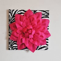 "Hot Pink Wall Hanging -Hot Pink Dahlia on Zebra Print 12 x12"" Canvas Wall Art- Baby Nursery Wall Decor-"