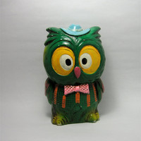 Vintage Owl Bank Piggy Bank In Hot 60's Colors by QuietRainz