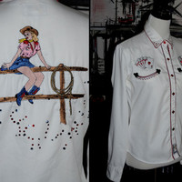 Vintage Womens Panhandle Slim Cowgirl Shirt with Embroidery Detail small medium