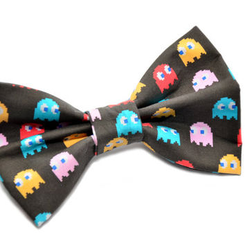 black pacman themed ghost fashion hair bow with iconic ghost print