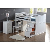 Acme Wyatt white finish wood twin size loft bed with pull out desk work station underneath and slide out stairs with storage