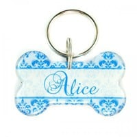 Blue Damask Dog Bone Designer Pet Id Tag | metamorphdesigns - Pets on ArtFire