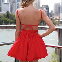 PRE ORDER - LADY LUCK DRESS (Expected Delivey 25th October, 2013) , DRESSES, TOPS, BOTTOMS, JACKETS & JUMPERS, ACCESSORIES, SALE, PRE ORDER, NEW ARRIVALS, PLAYSUIT, COLOUR,,CUT OUT,Red,BACKLESS Australia, Queensland, Brisbane