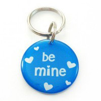 Blue Valentine Heart Pet Id Tag - Happy Tags