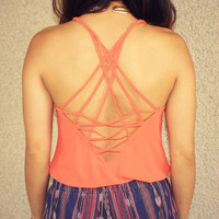 Gone Fishin' Lattice Back Tank (Orange)