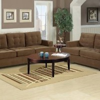 Bobkona Mahoney Collection 2-Piece Sofa Set, Truffle