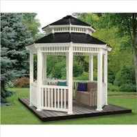 "10 x 10 Double Roof Gazebo (White/Gray) (11' 1""H x 11'3""W x 11'3""D)"