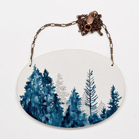 $50.00 Treeline Vignette Necklace  large hand painted by MeghannRader