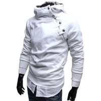 Amazon.com: Allegra K Men Button Accent Stand Collar Hooded Sweatershirt White S: Clothing