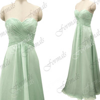 Strapless Long Chiffon Mint / Royal Blue / Peal Pink Bridesmaid Dresses, Prom Dresses, Mint Evening Gown, Wedding Party Dresses