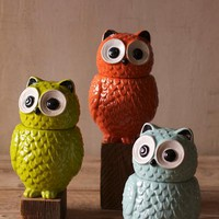 ceramic owl cookie jar blue