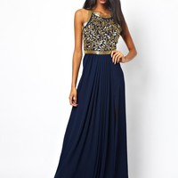 Virgos Lounge Kelly Embellished Maxi Dress with Open Back