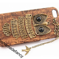 For iphone5 case wood cover handmade bird owl Iphone 5 case,owl Iphone cover, Vintage style owl Brass Branch Hard Case Cover christmas gift