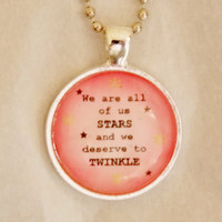 Marilyn Monroe Quote Necklace. We Are All Of Us Stars. 18 Inch Ball Chain.
