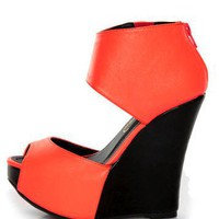 Privileged Solefoo Coral Cuffed Platform Wedges - $53.00