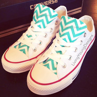 Chevron Converse Low Top Sneakers Aqua Blue White Custom Chuck Taylors