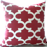 Red Decorative Moroccan print Cushion Case - 18 x 18 - Trellis print pillow cover