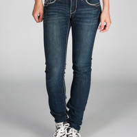 Hydraulic Embellished Pocket Womens Skinny Jeans Dark Blast  In Sizes