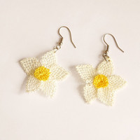 Narcissus Tazetta, Daffodil Needle work Earrings