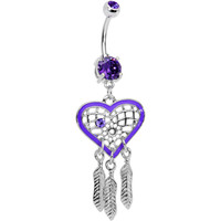 Tanzanite CZ Purple Heart Dreamcatcher Dangle Belly Ring | Body Candy Body Jewelry