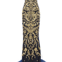 Strapless Fishtail Gown With Ornament Embroidery by Marchesa