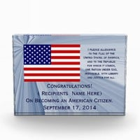 American Citizenship Flag Award with Date