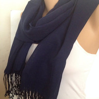 Navy  Blue Scarf - Long Pashmina Scarf - Lace  scarf - Wrap around - winter fashion