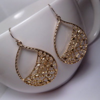 Netted Teardrop Hoop Earrings With 14k Gold