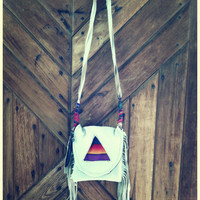 illumine. CREAM  fringe satchel. deerskin purse, bag, bohemian, pyramid, rainbow // free shipping in the US