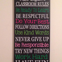 12 x 24  Personalized Subway Art. Classroom Rules Sign. Wall Decor. Teacher Rules. Gift. Custom.