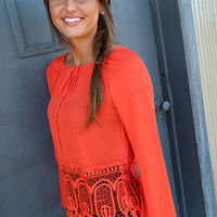 Tangerine Lace Tunic | The Rage