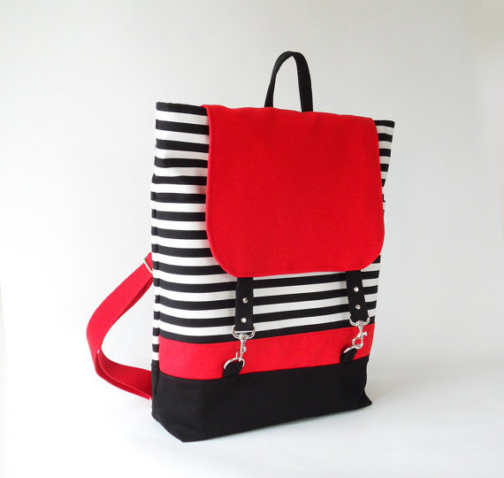 So Chic So Stylish Black Stripe Red Flap Backpack by BagyBag
