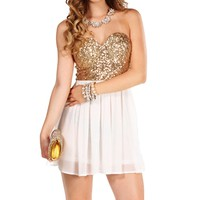 GoldIvory Strapless Sequin Tunic