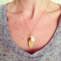 Gold Arrowhead Necklace- 24k Gold Dipped Arrowhead Charm on a 14k Gold Fill Chain