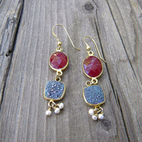 Ruby, Druzy, drusy, Gold filled earrings with baby button pearls
