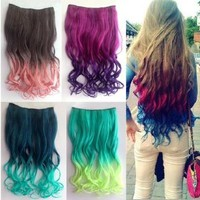 X&Y ANGEL 2013 New Two Tone One Piece Long Curl/curly/wavy Synthetic Thick Hair Extensions Clip-on Hairpieces 16 Colors