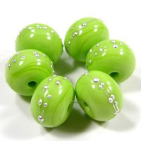 Lime Green Lampwork Beads Handmade Glass Shiny Pea Green Silver 212gfs