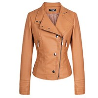 Zeagoo Women's Zip Up Synthetic Leather Biker Short Jacket