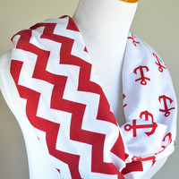 Red Chevron Anchor infinity scarf- soft jersey knit