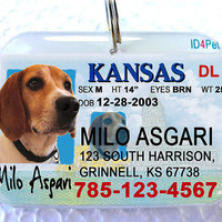 Pet ID Tags Kansas Driver License by ID4Pet by ID4Pet on Etsy