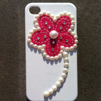 Pink Pearl Rhinestone iphone 4 4s Hard Cover Case by kaylafenton