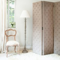 Peek-a-Boo Linen Studded Dressing Screen