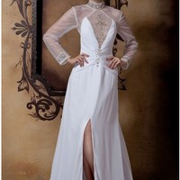 Sexy Deep V-neck Long Sleeve Chiffon Wedding Dress Key-hole Back