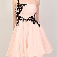 Short Black Lace One Shoulder Tulle Chiffon Prom Dress PD1767