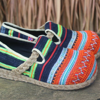 Womens Moccasin Style Loafers, Hmong Embroidered Indigo Batik Shoes 7